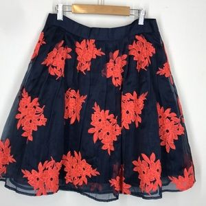 Maeve navy embroidered skirt size 8